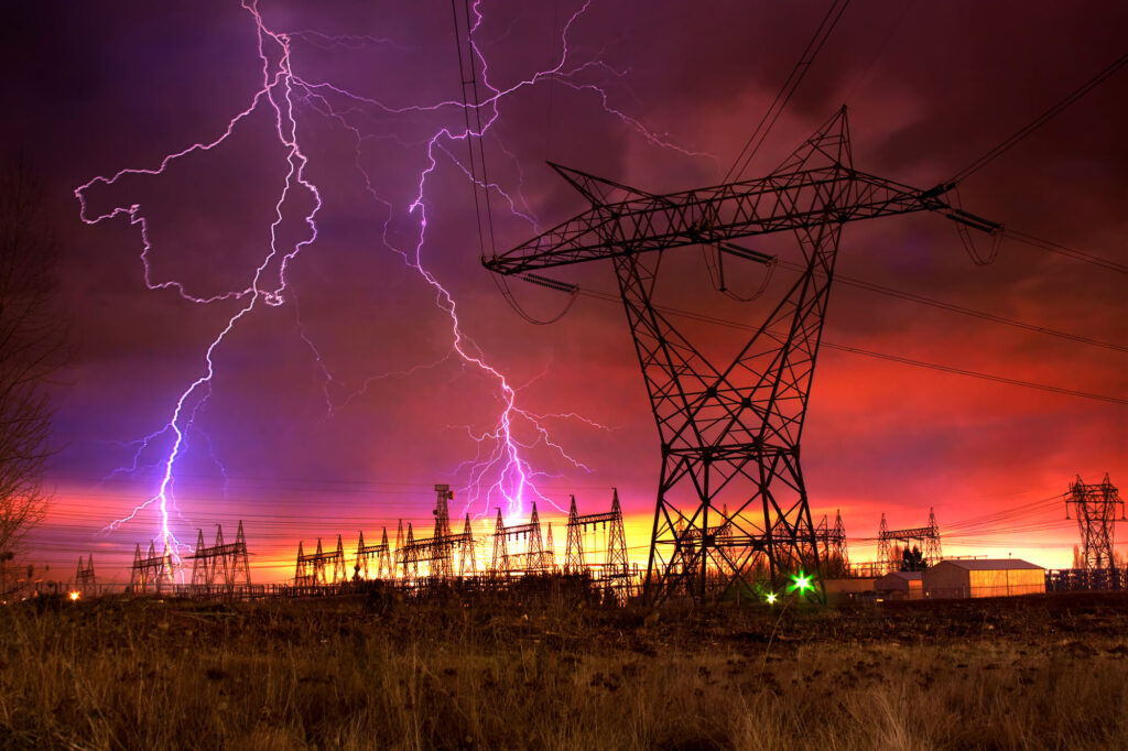 Lightning strikes to the power supply network can cause power surges of thousands of volts